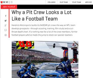 Why a pit crew looks like a football team (TheMMQB/SI.com)